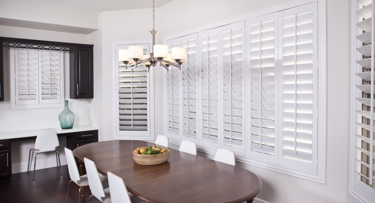 plantation shutters in Austin dining room